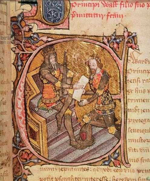 Cotton Nero D VI fol.31 Edward III granting the Black Prince the principality of Aquitaine, 1386-99 (vellum)