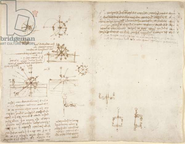 Arundel 263, f.34v, f.35, Notes and diagrams on hydraulic wheels, from 'Codex Arundel' (pen & ink on paper)