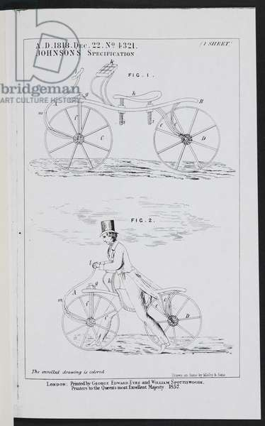 The Bicycle 4321, Johnson's Specification, 1818, Printed in 1857 (engraving)