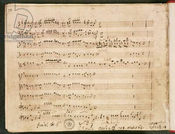 Original score of the Last Folio from the Opera 'Susanna', 1748