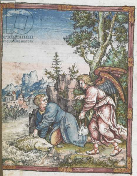 Coloured woodcut of Raphael and Tobias.