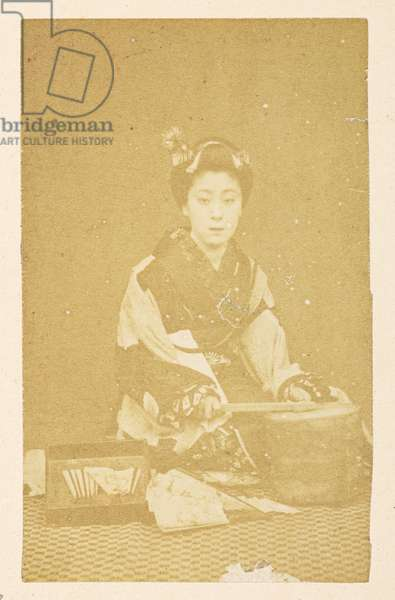 O'Wacka San [Portraits of Japanese women],  Photographer: UnknownLucas Collection: Photographic record of the world tour of Charles James and Morton P,  Lucas, 1877-79,  Dimensions: 84 mm x 53 mm