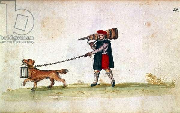 Waterman and dog, from 'Autograph album of Georg von Holtzschuher', 1621-24 (vellum)