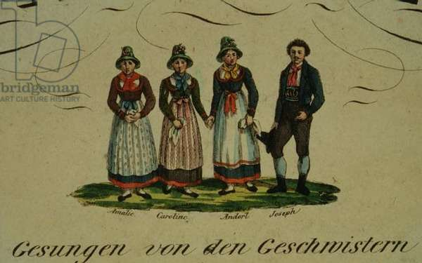 Vignette from a title page with four singers in Alpine costume