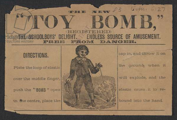 Advert for the Toy Bomb (engraving)