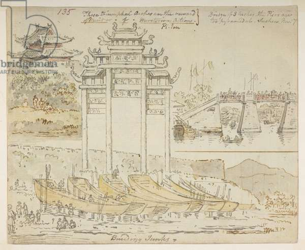 135 Junks being built near a triumphal arch. 'These triumphal arches are the reward of Merit or of Meritorious Actions. Bridge of 3 arches. The Piers are too pyramidal. Suchew [Soochow]. Nov 7.' , from an Album of 372 drawings of landscapes, coastlines, costumes and everyday life made during Lord Macartney's embassy to the Emperor of China, between 1792 and 1794 (pencil & w/c on paper)