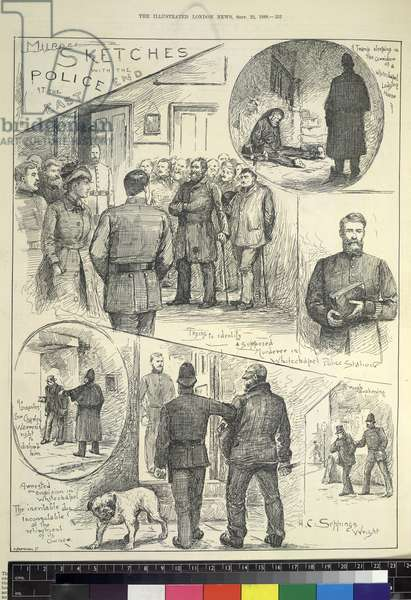 Murder sketches with the Police at the East End, from 'Illustrated London News' published 22nd September 1888 (litho)