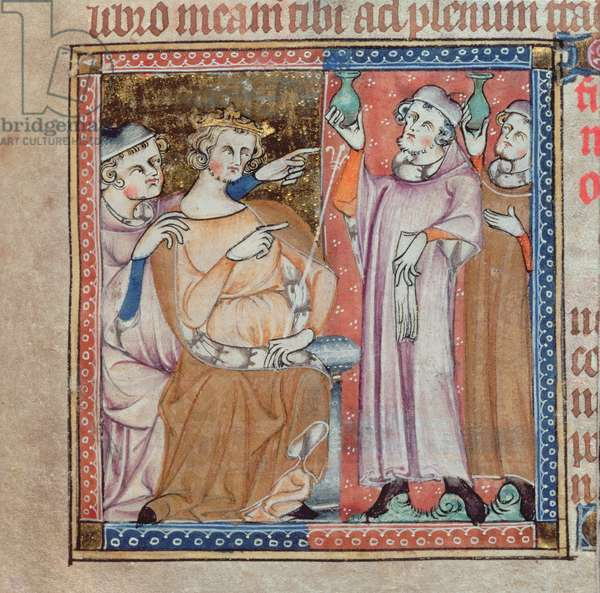 Add 47680 f.53r King consulting astrologers about the natal fortunes of a child born to a queen, from 'De Secretis Secretorum (c.1327)' (vellum)