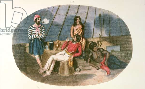 An officer and sailor with natives on board a ship, from 'Drawings and Sketches in New Zealand', c.1853 (colour litho)