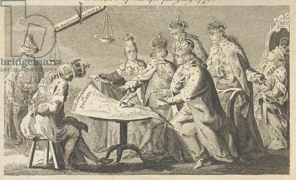 A satirical cartoon representing the first partition of Poland of 1772. Six European monarchs study a map of the Kingdom of Poland before Polish king Stanislaus II, shown seated and bound. Monarchs identified as as Catherine II of Russia, Frederick William II of Prussia, Louis XV of France, Leopold II, Holy Roman Emperor and Charles III of Spain. George III of Great Britain shown asleep in a chair, implying that it is the negligence of George III that has led to the altering of European influence away from Britain in favour of Prussia, represented by weighing scales labelled 'The balance of power'.  Trimmed with loss of title outside top border.