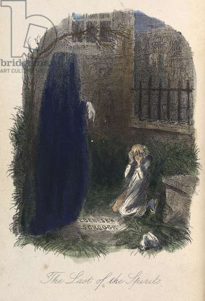 The Last of the Spirits. Ebenezer Scrooge visited by the last ghost.