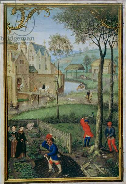 Add 18855 f.108 March: felling trees, from a Book of Hours, c.1540 (vellum)