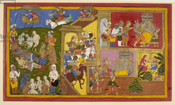 Add.15297(1), f.34 Sahibdin and workshop, Rama and Lakshmana Bound, from the 'Mewar Ramayana', 1652 (ink & colour and gold on paper)
