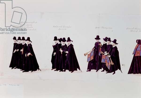 Funeral Procession of Queen Elizabeth, 1603 (pen & ink on paper)