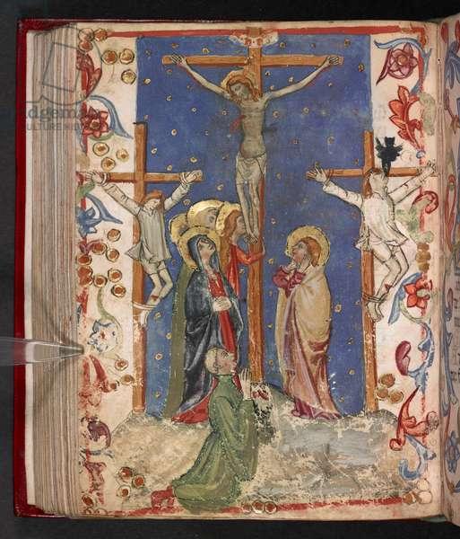 Add. 17466, f.140v The Crucifixion, 1412 (vellum)