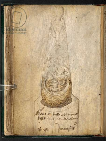 Sketch for an alchemical drawing, of a glass receiver with a man and woman embracing, a toad, snake and eagle inside. Written below: 'Sapo et bufo gradiens super terram et aquila volans est est [sic] magistrium', Alchemical miscellanyf.57v2nd half of the 15th century