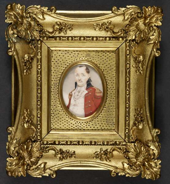 Half-length portrait to left of Colonel William Hessing (1739-1803), wearing a uniform coat of red with blue collar and gold lace