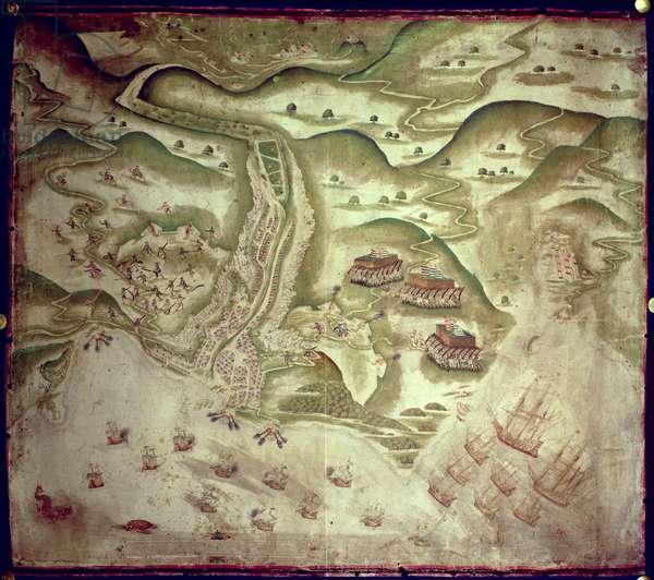 Eg 2579 Drake's attack on St. Jago, Cape Verde Islands, a bird's eye view, 1585 attack St. Jago, 1585 (manuscript)