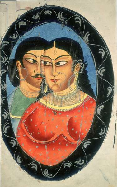 Portrait d'une courtisane indienne avec un dandy. Aquarelle anonyme, 1880 environ. Oval portrait of an Indian courtesan with a dandy, c1880, by Anon. The British Library. Institution Reference: Shelfmark ID: Add Or 3349 ©The British Library Board/Leemage