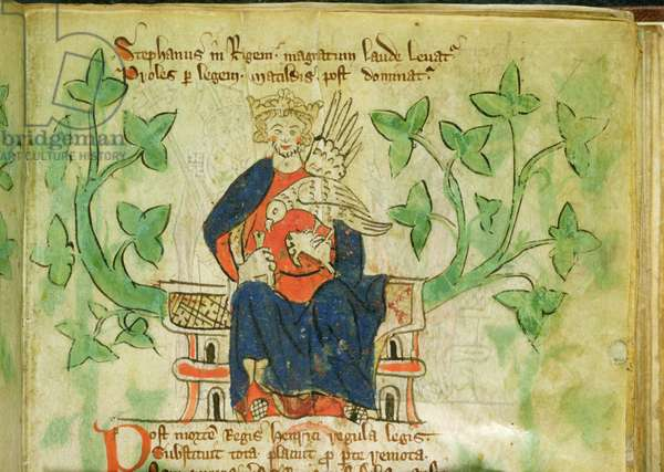 Roy.20 A II f.7 King Stephen enthroned, written during the reign of Edward II (1284-1327)