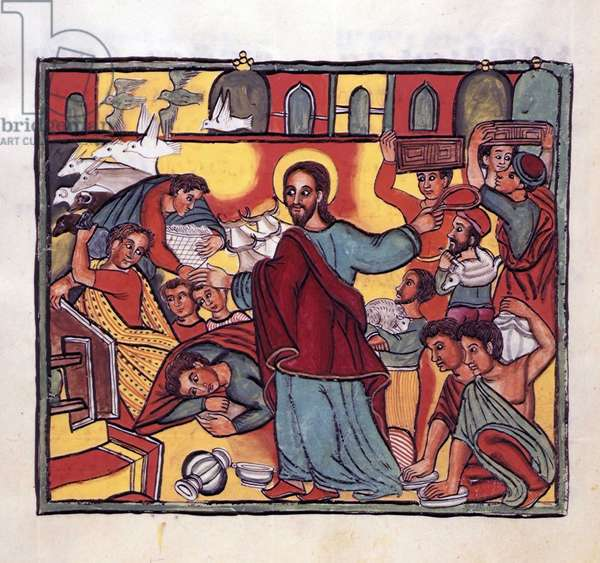 """Jesus Christ chasse les marchands devant les portes du Temple de Jerusalem. Miniature tiree de """"""""Evangile selon saint Jean"""""""", manuscrit ethiopien, 17eme siecle. The British Library The cleansing of the temple, 17th century. Jesus in the temple expelling the money-changers, the sheep and the oxen. Manuscript illustration from """"""""The Gospel of John; Discourse of John Chrysostom and Miracles of the Blessed Virgin Mary"""""""" produced in Ethiopia. ©The British Library Board/Leemage"""