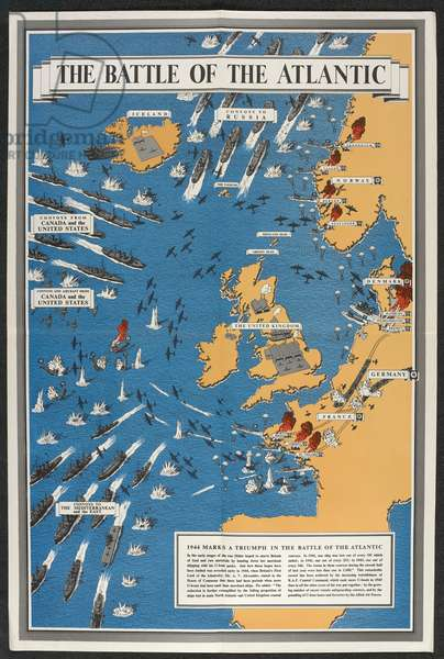 The Battle of the Atlantic, 1944 (colour litho)