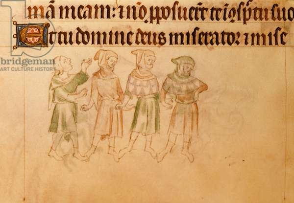 Royal 2 B.VII f.196v Four men singing, from the 'Queen Mary Psalter', c.1310-20 (vellum)