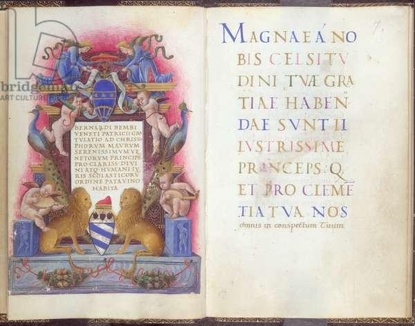 Frontispiece to Oratio Gratulatoria to Doge Cristoforo Moro (Add. 14787, f.6v), c.1462-3 (vellum)