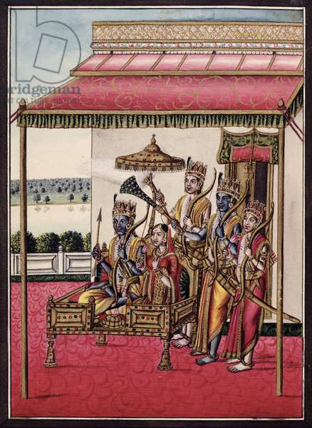 MSS EUR C 116/1 f.13v Rama, from the Hindu epic the 'Adhyatma Ramayana', 1802 (w/c on paper)