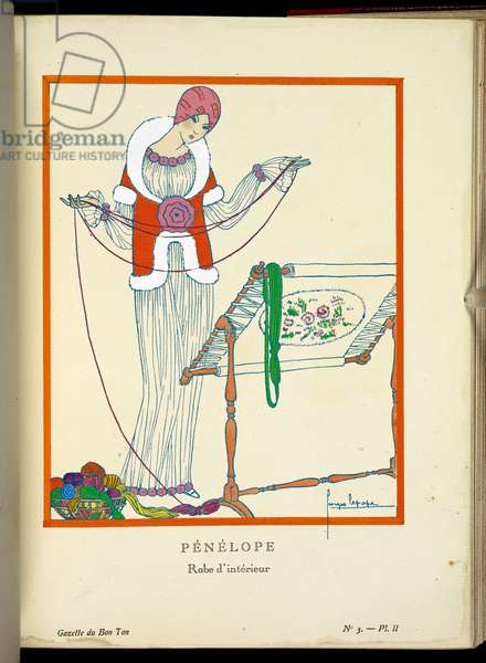 Penelope, robe d'interieur, plate II from Gazette du Bon Ton, vol 1 numero 3 (engraving)