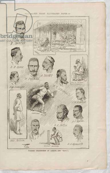 The Parsee Cricketers at Lord's, from The Penny Illustrated Paper, 5 June 1886 (engraving)