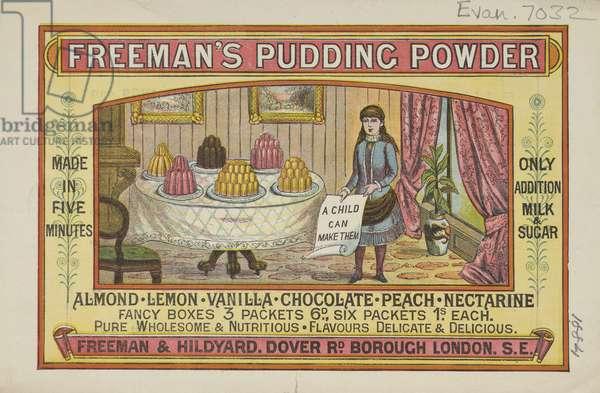 Advert For Freeman's Pudding Powder, 1884 (colour litho)