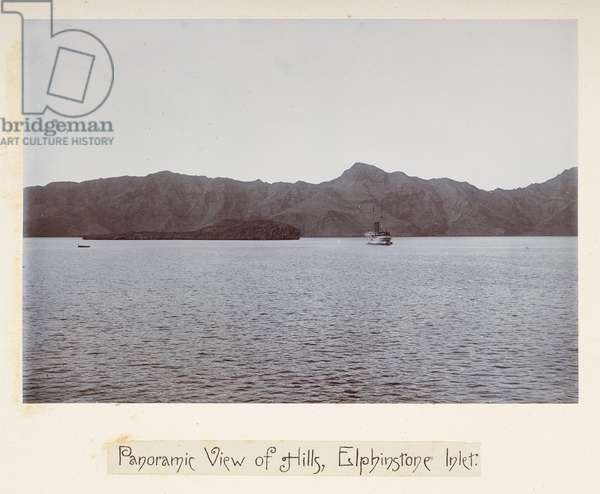 Panoramic view of hills, Elphinstone Inlet, from 'Photographs of Lord Curzon's tour in the Persian Gulf, November, 1903' (silver gelatin print)