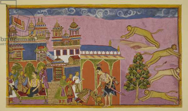Add 15296 (2) f.38r, Laksmana enters Sugriva's palace, and is received by the latter bowing down to the ground, with his ministers behind him. The two are reconciled. On the left, Sugriva and Laksmana converse on a couch. Sugriva tells Hanuman to summon his entire army of monkeys, while on the right four monkeys leap to the four quarters, summoning all the troops together.