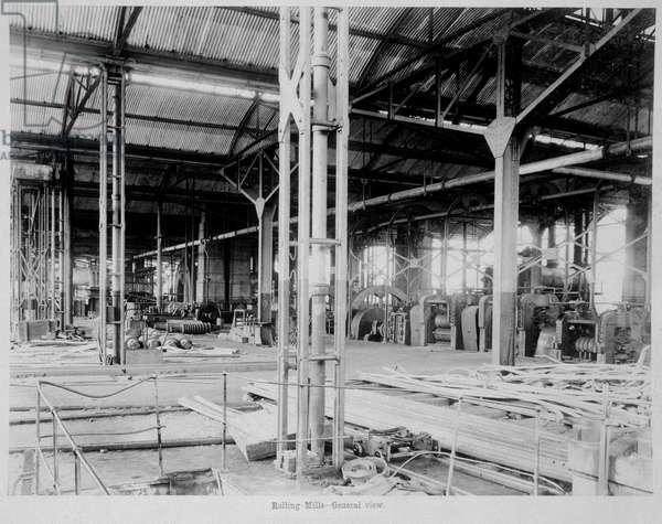Photograph of Railway manufacturing workshop interior. Rolling Mills making and maintaining tracks. Jamalpur.