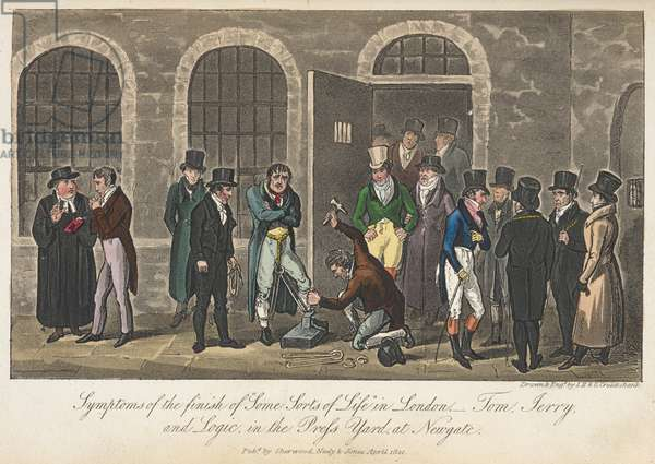 """Symptoms of the finish of """"some sorts of life"""" - Tom, Jerry & Logic in the Press Yard at Newgate, 'Life in London, etc.', by Pierce Egan, 1823 (colour litho)"""