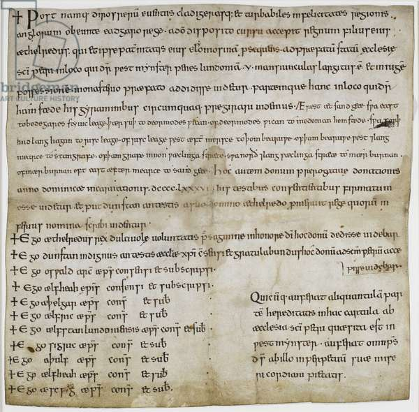 Stowe CH 33 Charter in the name of King Aethelred granting land at Hampstead, 986 AD (ink on vellum)