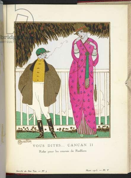 """""""Vous Dites... Cancan II - Robe pour les courses de Redfern en drap du Pôle à impressions. Jaquette envelopante, fermée par un seul gros bouton d'où pend un écharpe; des manches pendent deux glands.""""  Design by John Redfern."""