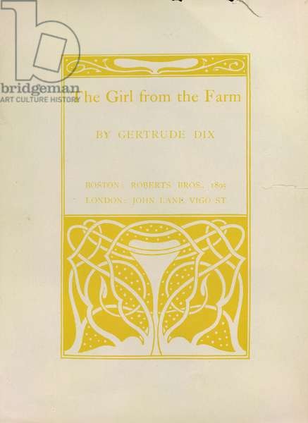 The girl from the farm, decorated Book Paper for 'The girl from the farm' by Gertrude Dix. Image taken from '20 Miniature Posters drawn by Aubrey Beardsley'. Roberts Bros: Boston, 1895 (drawing)