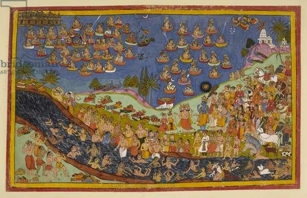Rama enters heaven, from 'Ramayana, Uttara Kanda', 1653 (w/c on paper)