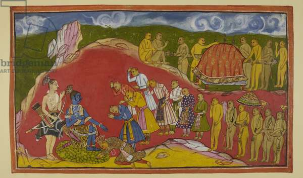 Add 15296 (2) f.44r, Rama seated on a seat of lotus petals in his cave, with Laksmana standing beside him, is overjoyed at seeing the vast army of monkeys that Sugriva has brought with him. Sugriva falls at Rama's feet and the monkey ministers also respectfully greet him. Sugriva tells him of the innumerable monkeys who will be available to assist him in searching for the place where Ravana has taken Sita