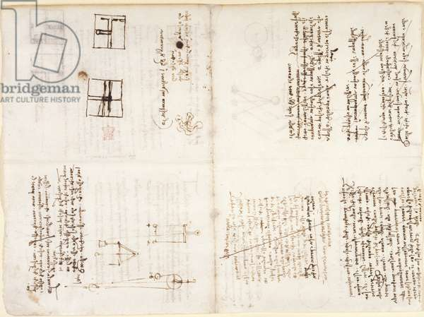Arundel 263, f.132v, f.131r Notes, sketches and diagrams from 'Codex Arundel', c.1503-5 (pen & ink on paper)