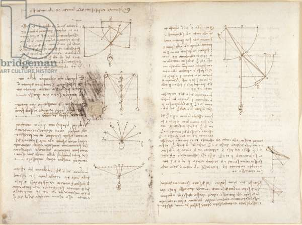 Arundel 263, f.3v, f.12 Notes and diagrams on mechanics, 1508 (pen & ink on paper)