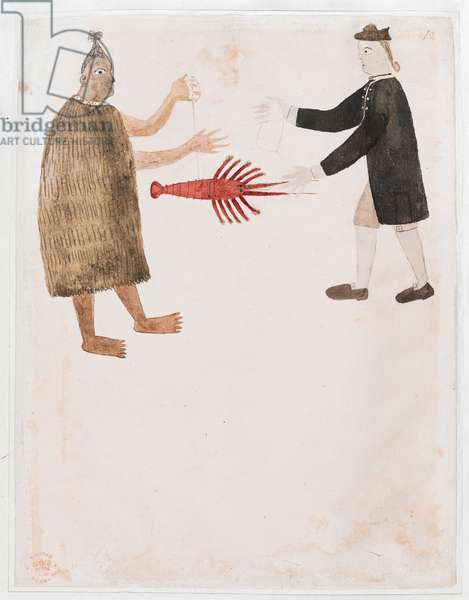 Add MS 15508 [Drawing no.12] A Maori bartering a crayfish with an English naval officer, 'Drawings Illustrating Captain Cook's First Voyage', 1768-70 (ink & colour on paper)