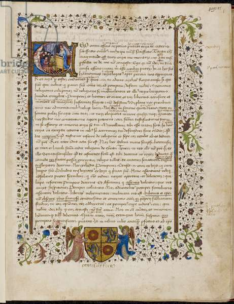 Full border with rinceaux decoration, foliate motifs, and birds, with the coat of arms of Petrus de Foix, supported by two angels, and the historiated initial 'E'(go) with a man at a lecturn