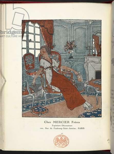 """Chez Mercier Freres"" from the Gazette du ""Bon Ton"", 1912 (engraving)"