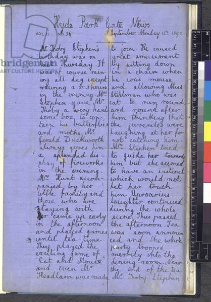 Add MS 70725-70726 'Hyde Park Gate News', Vol. I and II, a magazine by Virginia Woolf and Vanessa Bell, 1892 (ink on paper)