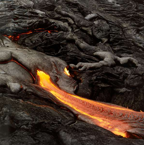 Lava flowing from volcano.