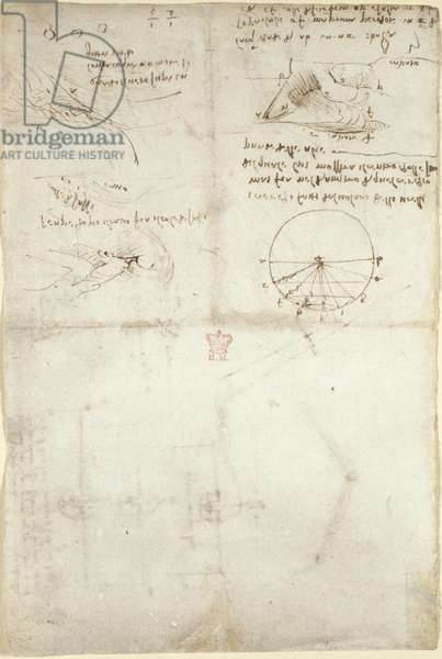 Arundel 263, f.126v Three notes and sketches on water; a diagram on the flight of birds, c.1500-5 (pen & ink on paper)