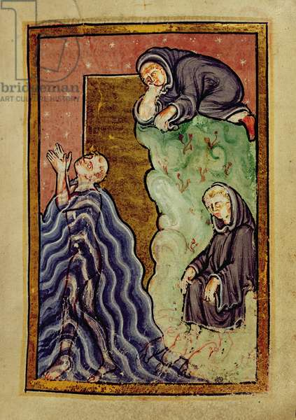 Add 39943 f.24 St. Cuthbert praying in the sea observed by a monk, and having his feet dried by sea otters, from 'Life and Miracles of St. Cuthbert' by Bede, Latin (Durham) (vellum)